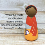 Malala Nobel Prize Peg Doll with Tin