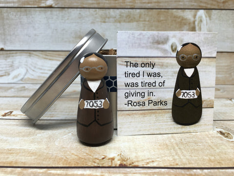 Rosa Parks Peg Doll with Gift Tin