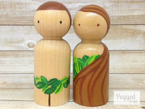 Adam and Eve Peg Dolls