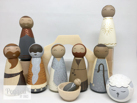 Classic Nativity Peg Doll Set - neutrals and metallics
