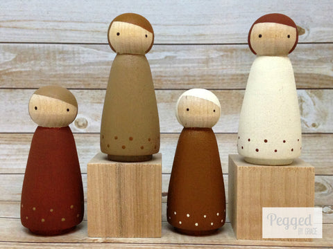 The Nature Girls Peg Doll Set - Hickory, Almond, Chestnut, and Acorn