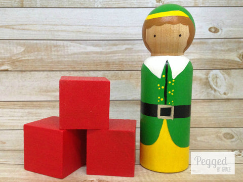 The Christmas Elf Peg Doll
