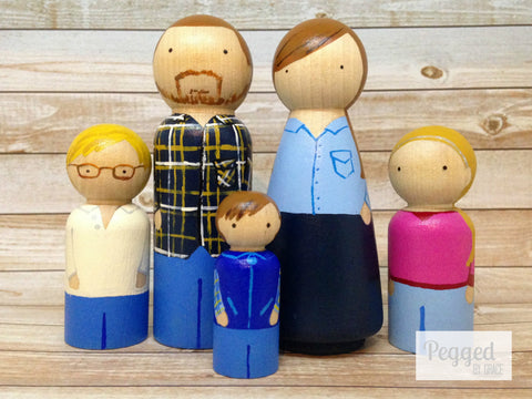 Custom Family Peg Doll Set - 2 adults and 3 children