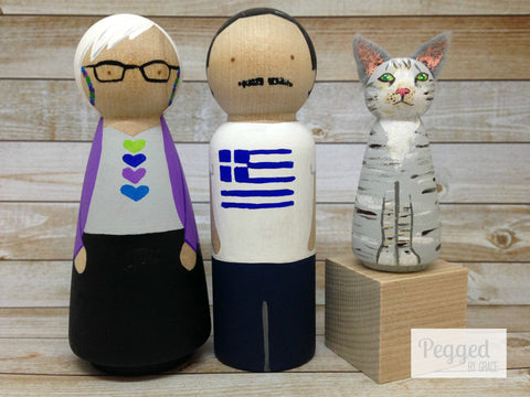 Custom Family Peg Doll Set - 2 adults and 1 pet