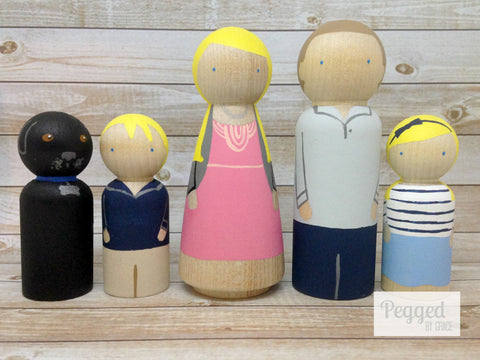 Custom Family Peg Doll Set - 2 adults, 2 children, 1 pet