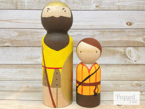 David and Goliath Peg Dolls - the Bible collection