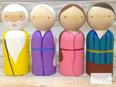 Old Testament Family Peg Dolls - Abraham, Sarah, Isaac, Rebecca