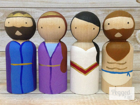 Old Testament Royalty Peg Dolls - Samson, Delilah, Solomon, Esther