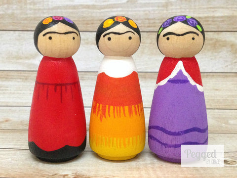 Frida Kahlo Peg Dolls