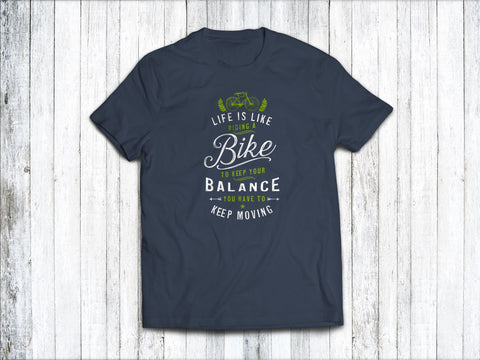 Life is Like Riding a Bike Men's T-Shirt in Denim Blue