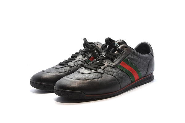 Gucci Lace up trainer w/web