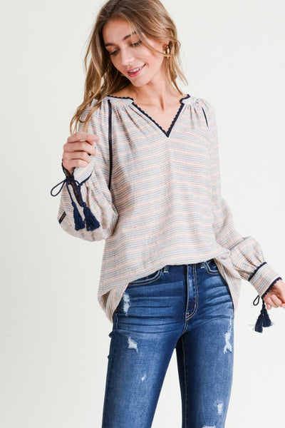 Navy Blouse with tassel cuffs