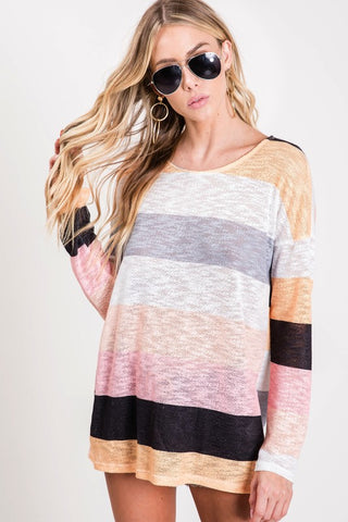 Catch My Breath Striped Pink Top LS