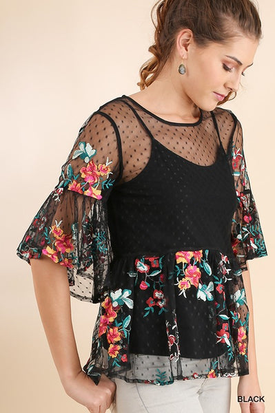 Kiss Me Black sheer top with floral