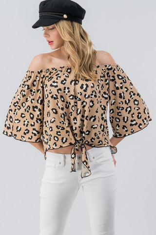Drop it like it's hot leopard off shoulder top