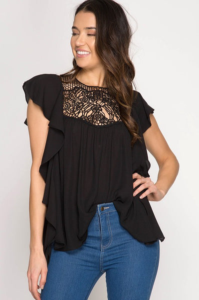 Ruffle Me sleeve top with lace