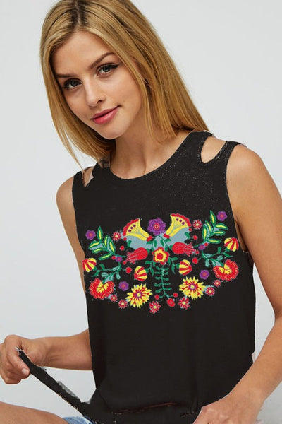 Black Embroidery top sleeveless
