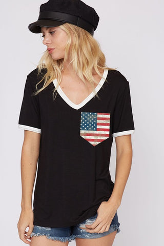 Oh Beautiful short sleeve top with flag pocket