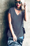 Run it Again Black striped top