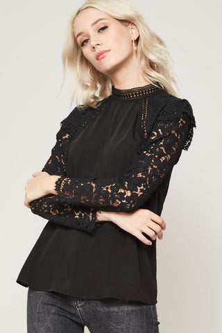 Cornelia Street Black Long Sleeve top