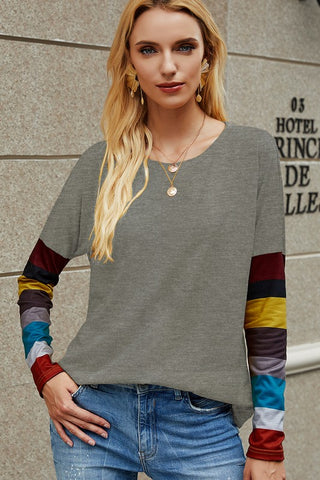 Good Intentions Long Sleeve top with striped sleeve