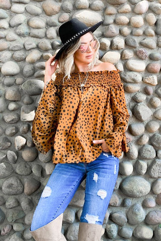 Pretty Girls Leopard Off Shoulder Top