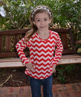 Red and White Chevron Little Girl's Top