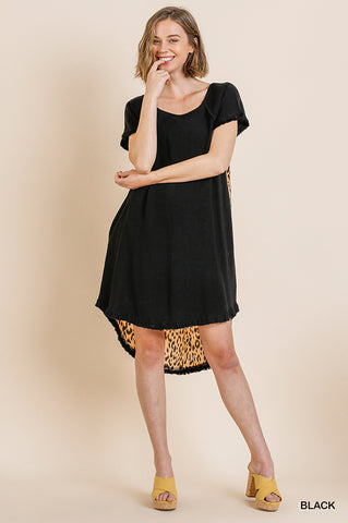 Black dress with leopard