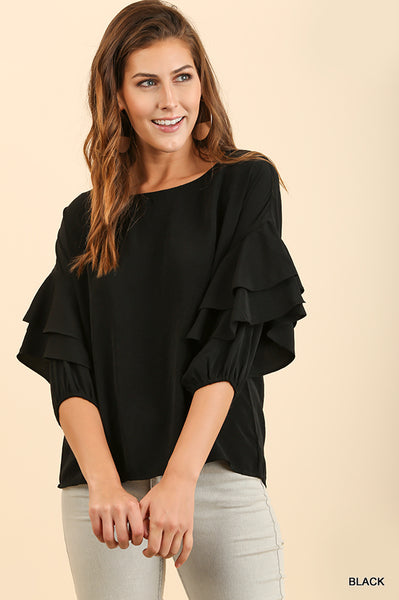 Mic Drop Black Ruffle Top