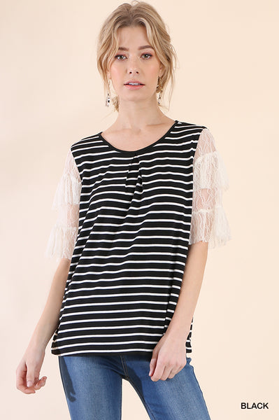 Macy Striped top with lace sleeve