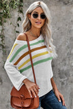 The Right Stuff Multicolor Stripes Print Knit Top