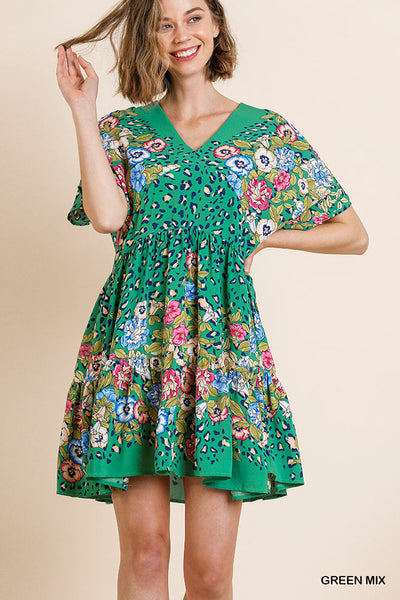 Do More Green Floral Dress