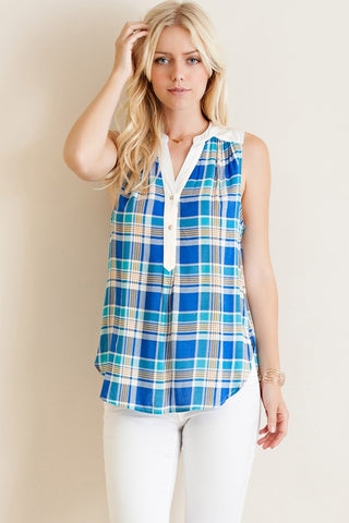 Jackie Blue Plaid sleeveless top