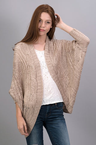 Good to Go Taupe open cardigan