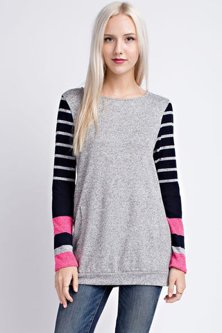 Believer pink and navy top