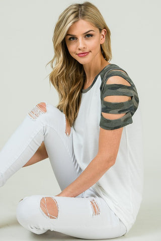 For the Love top with camo cut out sleeve