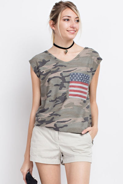 Indpendent Woman v neck camo top with flag