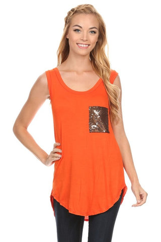Go Fight Orange Top with front pocket