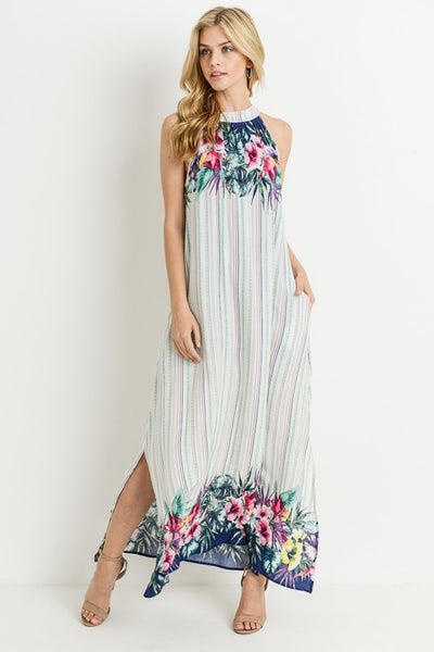 Never alone maxi dress with floral