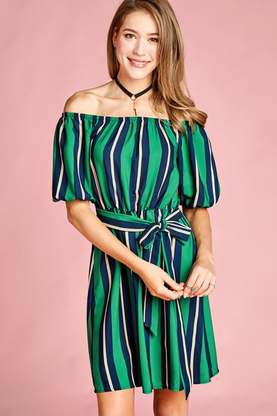 Take your Time navy striped dress