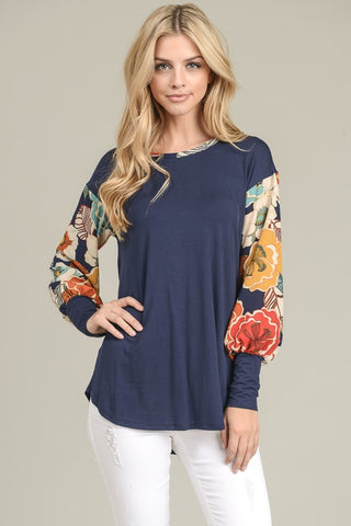 Finesse Floral  sleeve top