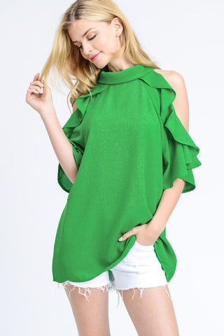 Isn't She Lovely Open shoulder top with ruffle