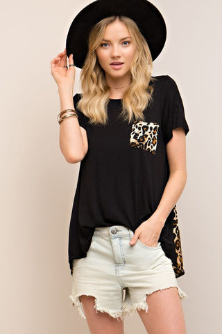 Crash into Me Black top with leopard