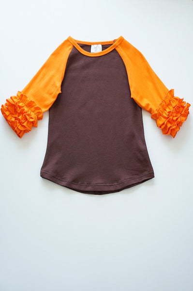 Raglan brown top LITTLE GIRLS