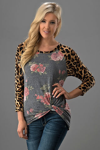 Jessica Leopard Sleeve Top