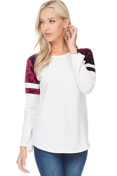 Reputation long sleeve ivory top with Burgundy