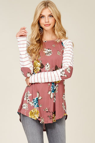 Allison Floral Top with Striped Sleeves