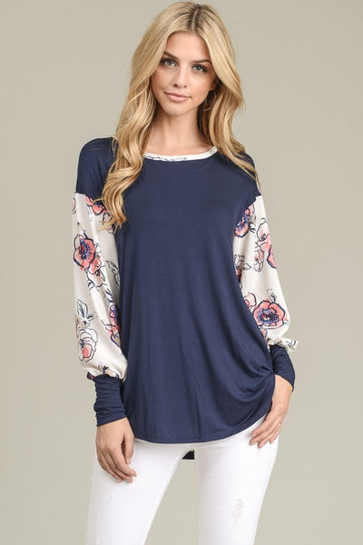 Finesse 2 Floral Sleeve top