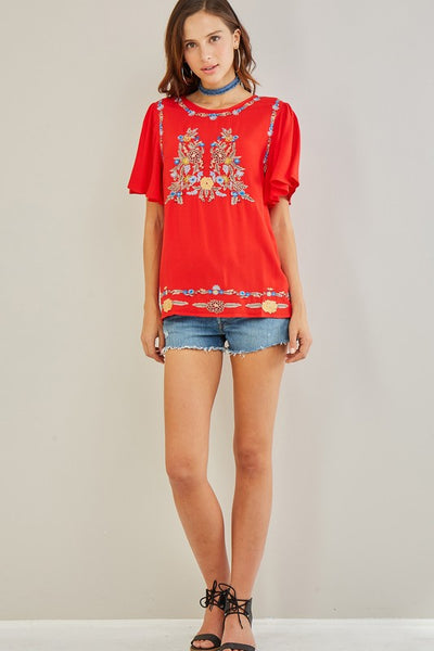 Daisy Embroidered Short Sleeve Top