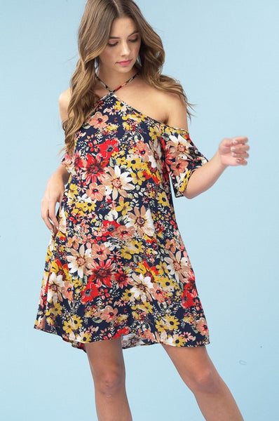 Maria Navy Floral Dress